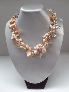 sterling wirework and stainless steel chain amazonite Mermaid cluster necklace with pearls chalcedony