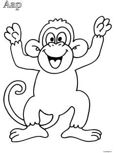 Monkey coloring page Coloring Sheets For Kids, Disney Coloring Pages, Animal Coloring Pages, Colouring Pages, Coloring Books, Art Drawings For Kids, Animal Drawings, Easy Drawings, Monkey Template
