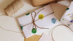 DIY Wrapping Paper twine watercolour cacti cactus succulents