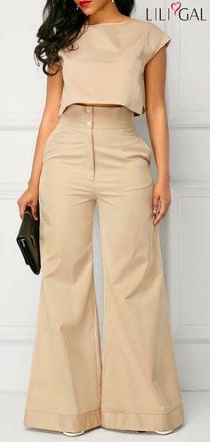 Cap Sleeve Light Khaki Top and Pocket Pants Look Fashion, Autumn Fashion, Fashion Outfits, Womens Fashion, Fashion Tips, Fashion Photo, Classy Outfits, Casual Outfits, Cute Outfits