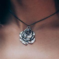 ♆ A rose for a rose ✧♆✧ shopdixi.com ✧♆✧ dixi // jewellery // jewelry // boho // bohemian // grunge // goth // dark // mystic // magic // witchy // choker // necklace // rose // silver