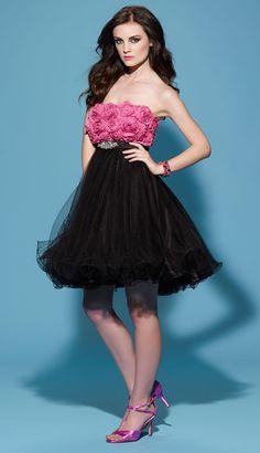 25084cd792 Beauteous Flower Strapless Empire Beading Organza Satin Cocktail Dress    Bridesmaid Dress Black Prom Dresses
