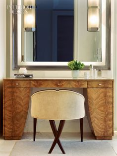 African crotch mahogany veneer on a vanity at the Beverly Hills Hotel