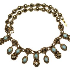 Hollycraft Faux Turquoise Arum Dangles Necklace