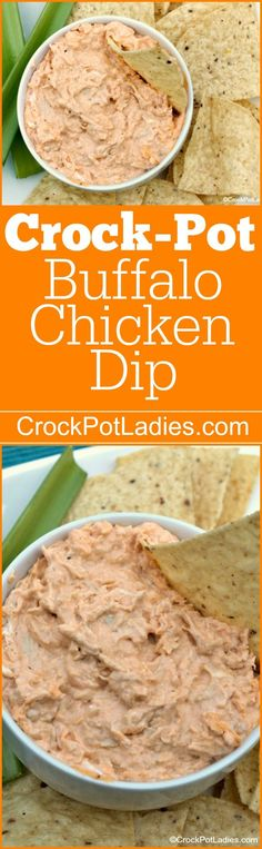 Crock-Pot Buffalo Chicken Dip - A great recipe for your next game day or party, this spicy Crock-Pot Buffalo Chicken Dip has all the flavors of hot wings and tastes great with chips or celery sticks! [Gluten Free, Low Carb & Low Sugar] #crockpotladies #crockpot #slowcooker #recipes #dips #partyrecipes #tailgating
