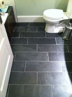 another good gray tile option layed in a herringbone pattern (is