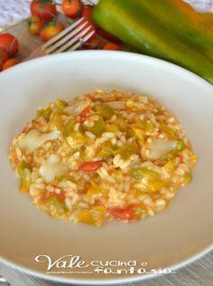 Risotto con peperoni e scamorza affumicata facile e gustoso un primo piatto davvero appetitoso,inoltre senza olio e burro quindi anche leggero