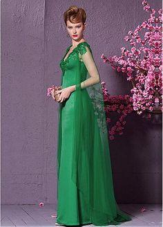 In Stock Elegant Malay & Lace V-neck Sheath Evening Dress