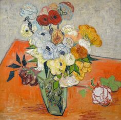 Art of the Day: Van Gogh, Roses and Anemones, June 1890. Oil on canvas, 51 x 51 cm. Musée d'Orsay, Paris.