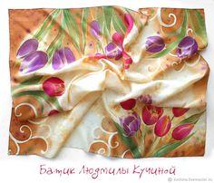 """платок батик """"Весенние тюльпаны"""" шелк натуральный - купить или заказать в интернет-магазине на Ярмарке Мастеров   Симпатичный платок из натурального шелка с ручной…"""