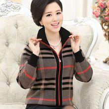 NIFULLAN das Mulheres Suéter de Cashmere Casaco de Lã de Moda Plus Size Roupas Mãe Xadrez Impressão Cardigan Jumper De Manga Longa(China (Mainland))