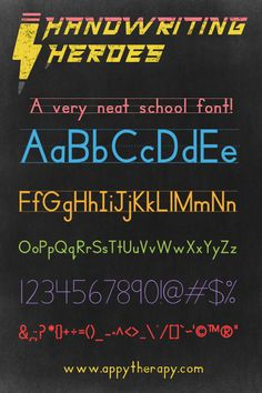 Create worksheets and materials using the Handwriting Heroes Font to model correct letter formation and line placement. Free for personal or commercial use. Teaching Handwriting, Handwriting Activities, Free Handwriting, Teaching Tools, Teaching Kids, Free School Fonts, Writing Lines, Letter Formation, Letter G