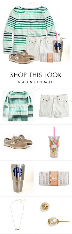 """~whatever floats your boat~"" by flroasburn ❤ liked on Polyvore featuring J.Crew, Sperry, Lilly Pulitzer, Kendra Scott and Tory Burch"