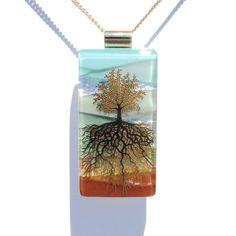 Tree of Life LARGE Dichroic Fused Glass Pendant by IntoTheLight