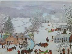 Grandma Moses A Frosty Day Art Print 1951 20 x 14 Grandma Moses, Primitive Folk Art, Naive Art, Christmas Art, Beautiful Artwork, American Artists, Artist Art, Art Pictures, Les Oeuvres