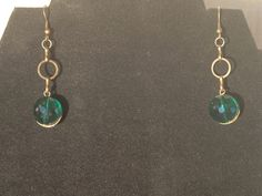 Emerald Crystal and Antique Gold Drop by RebelScumPrincess on Etsy, $12.00