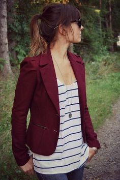 21 Looks with Burgundy Color. Perfect Autumn Color Glamsugar.com Love the style! burgundy blazer striped loose tank long anchor necklace