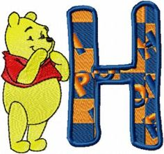Winnie Pooh Alphabet letter H embroidery design Towel Embroidery, Embroidery Alphabet, Embroidery Monogram, Embroidery Applique, Embroidery Files, Machine Embroidery Projects, Embroidery Software, Free Machine Embroidery Designs, Winnie The Pooh