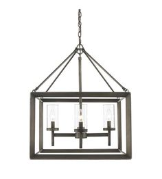 Golden Lighting 2073-4-GMT Smyth 4 Light 21 inch Gunmetal Bronze Chandelier Ceiling Light in Clear Glass #LightingNewYork