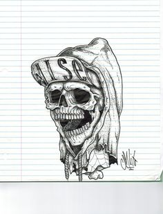 The skull with a snapback & a hoodie. by Carl Bédard, via Behance