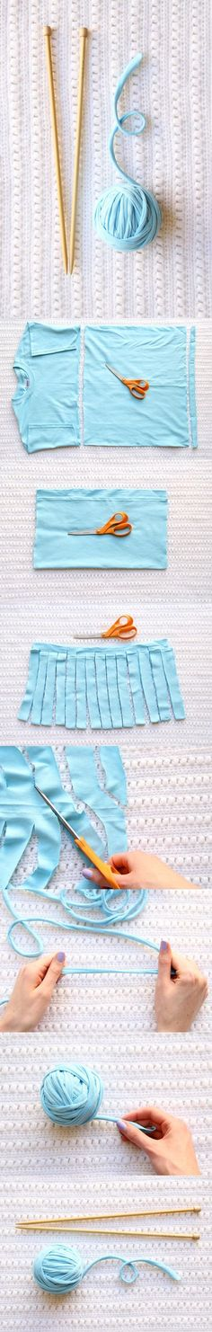 How to make tshirt yarn and ideas for how to use it. Make crochet rugs, market shopper, necklaces and wall hangings.