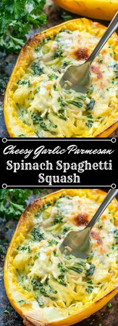 Expecting to eat more veggies? This Cheesy Garlic Parmesan Spinach Spaghetti Squash formula packs a whole bundle of spinach twirled with a simple mushy cream sauce. Veggie Dishes, Veggie Recipes, Vegetarian Recipes, Cooking Recipes, Healthy Recipes, Vegan Vegetarian, Healthy Soup, Detox Recipes, Pizza Recipes