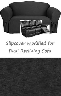 Dual Reclining SOFA Slipcover Black Cotton Adapted For Recliner Couch