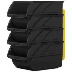 Stanley 6 in. x 12-5/8 in. Black Storage Bins (4-Pack)
