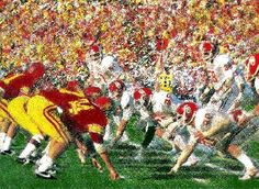 Vintage USC vs. OU football art on canvas. http://www.shop.47straightposters.com/In-the-Trenches-Vintage-OU-vs-USC-football-art-OU-SC.htm