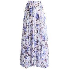Chicwish Purple Lilies Watercolor Chiffon Maxi Skirt (2.440 RUB) ❤ liked on Polyvore featuring skirts, purple, chicwish skirt, long chiffon skirt, long floor length skirts, purple chiffon maxi skirt and pastel skirts