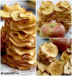 Crunchy Apple Chips - Made in the oven without the need of a dehydrator. Easy…