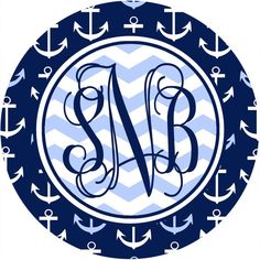 Anchors Mouse Pad. Nautical Monogrammed Mouse Pad. Looks great on any desk! For a Great gift add a cell Phone Stand!   Round, 8 diameter, 1/4