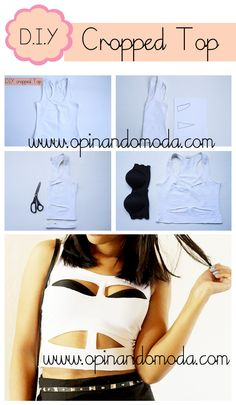 DIY cropped top cute with bold colored tank underneath