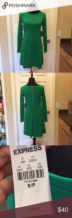 NWT - Express Skater Dress NWT - Express Skater Dress. Green. Long sleeves. No trades. Non-smoking house. PM only for your protection and mine😊 Feel free to submit *reasonable* offers for consideration. Express Dresses Long Sleeve