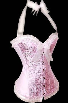 Fairy Pink and metallic flowers Halter overbust corset – Sisters of the Moon Design