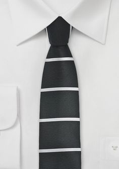 Skinny Square Tipped Tie in Black, $10 | Cheap-Neckties.com