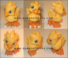 CHOCOBO FIGURE Birtday Cake, Clay Ideas, Clay Creations, Final Fantasy, Cupcake Toppers, Winnie The Pooh, Biscuit, Pikachu, Polymer Clay