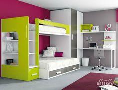 двухъярусная кровать в детской комнате двух мальчиков