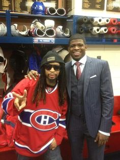 Rapper Lil Jon Hangs Out With Montreal Canadiens, Poses With P. Subban and Rene Bourque (Photos) Montreal Canadiens, Hockey Teams, Hockey Players, Bespoke Suit, 3 Piece Suits, Hanging Out, Nhl, Rapper, Poses