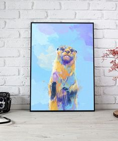 Perfect for a colorful wall art. Elevate your home decor with this colorful animal illustration! Colorful Wall Art, Colorful Animals, Otter, Art Studios, Artwork Prints, Animals Beautiful, Wall Tapestry, Digital Art, Artsy