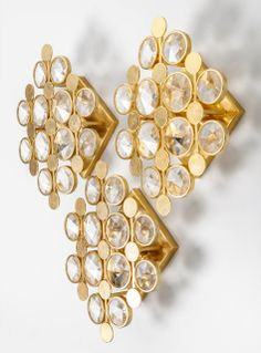 Gaetano Sciolari; Brass and Faceted Glass Wall lights for Faustig, c1960.