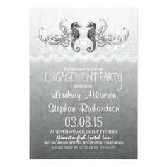beach engagement party invitations with seahorses