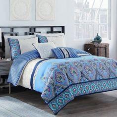 Malia 5-Piece Reversible Comforter Set in Blue/Ivory - www.BedBathandBeyond.com