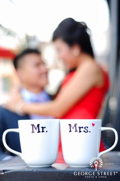 Super sweet Mr. & Mrs. mugs from an oh-so-charming engagement session! http://go.georgestreetphoto.com/l/9752/2013-10-11/gdfnm