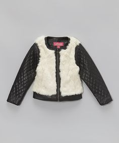 Another great find on #zulily! Black & Cream Faux Fur Jacket - Girls by Catherine Malandrino #zulilyfinds