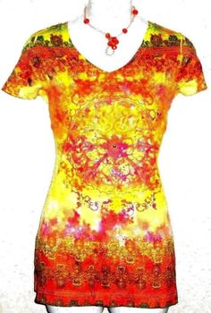 Dressbarn Yellow Multi-Color Short Sleeve Top T-Shirt Tunic V-Neck Size Small #dressbarn #KnitTop #Casual