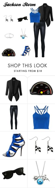 """""""Jackson Storm Disney Bound"""" by disney-nerd-designs ❤ liked on Polyvore featuring LE3NO, Yazbukey, Versace, Miss Selfridge, Emilio Pucci, Carolina Glamour Collection, Ray-Ban and Charming Inspirations"""