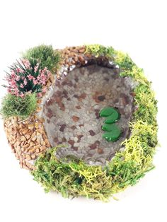 Miniature fairy garden pond. Lily pad pond with rocks and plants. Perfect for terrarium or dollhouse. by PuppyLoveMiniature on Etsy