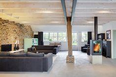 Woonboederij / BYTR architecten Utrecht-Rotterdam, interior, wood, modern, old en new, vide, glass, fireplace