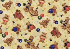 Fat Quarter Ye Olde Christmas Teddy Bears (Cream) Cotton Quilting Fabric